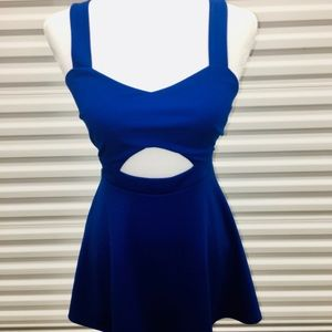 Blue cut out mini dress
